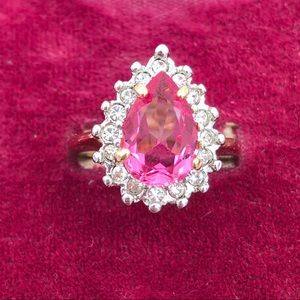 18K GE Pink Pear Cubic Zirconia Halo Cocktail Ring